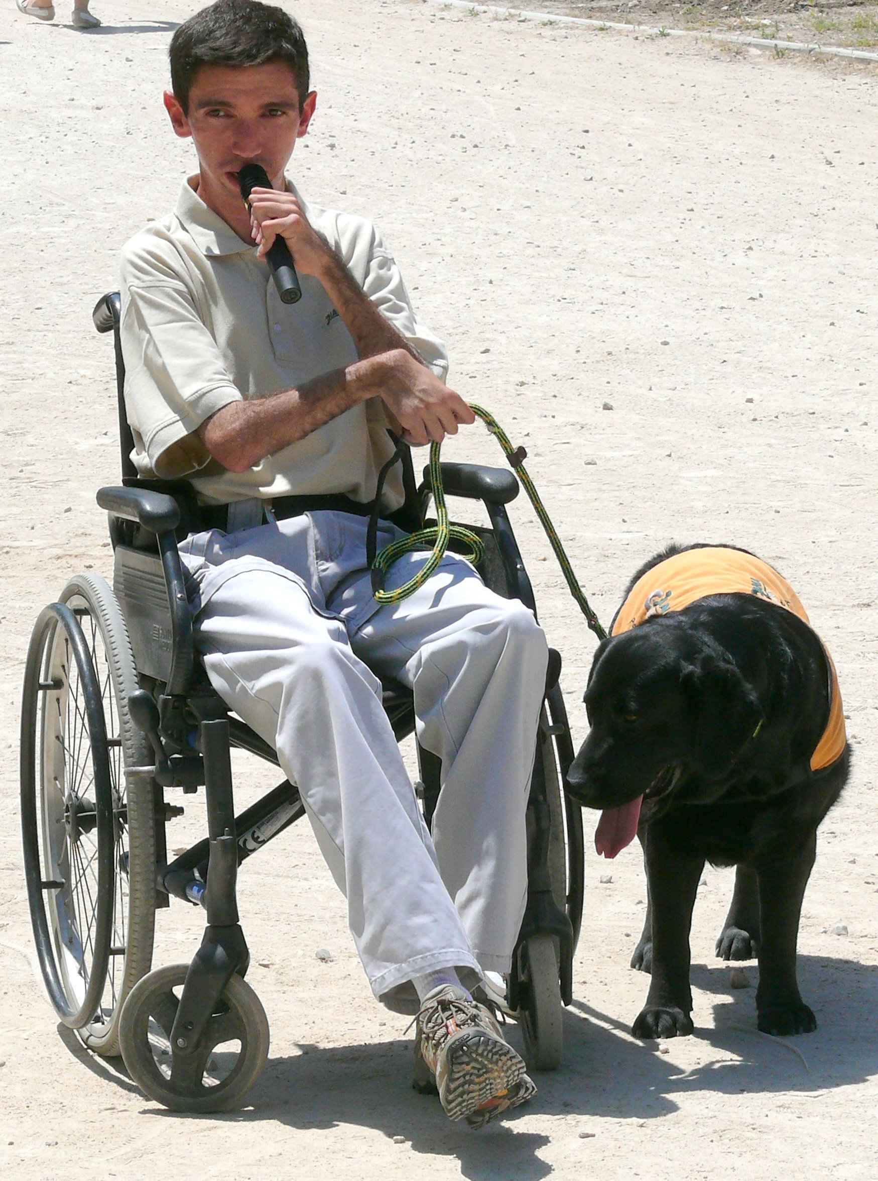 discapacitado y perro de asistencia